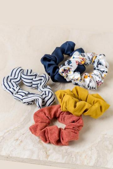 Francesca's Shiloh Scrunchie Set - Navy