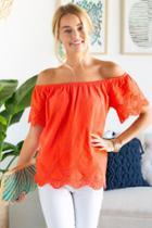 Francesca's Logan Off The Shoulder Blouse - Coral