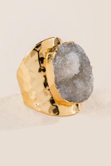 Francesca's Abigail Druzy Statement Ring - White