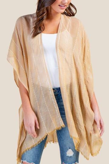 Francesca's Ceanna Stitched Stripe Kimono - Sunshine