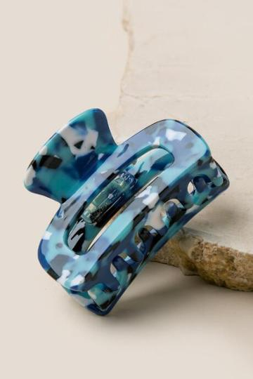 Francesca Inchess Kimberly Marbled Resin Hair Clip - Navy