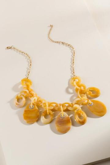 Francesca's Whitney Marbled Resin Statement Necklace - Marigold