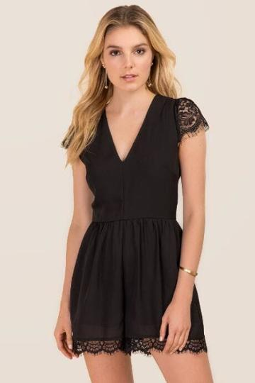 Mi Ami Gracen Lace Sleeve Romper - Black
