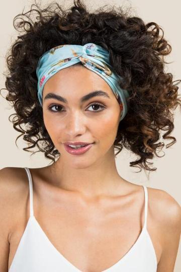 Francescas Elody Eastern Floral Headwrap - Light Blue