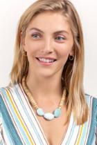 Francesca's Cattie Wooden Bead Necklace - Mint