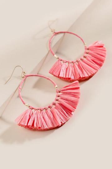 Francesca Inchess Raffia Coral Earrings - Coral