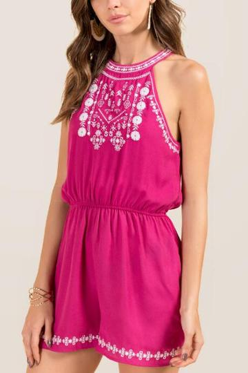 Francesca Inchess Adelaide Embroidered Floral Back Tie Romper - Fuchsia