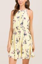 Francesca's Coco Floral Ladder Trim A-line Dress - Lemonade