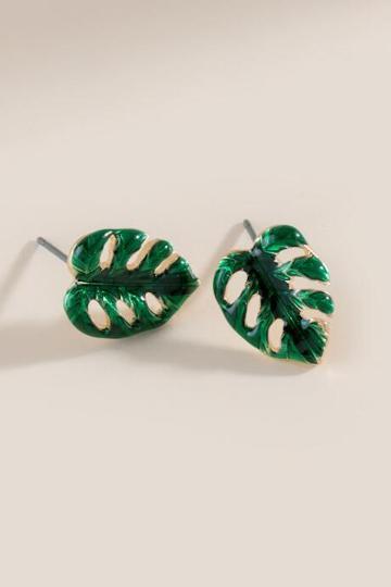 Francesca Inchess Leaf Stud Earrings - Green