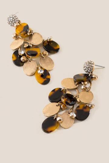 Francesca's Gail Pave Post Circle Drop Earrings - Amber