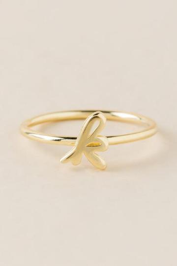 Francesca Inchess K Initial Script Ring - Gold