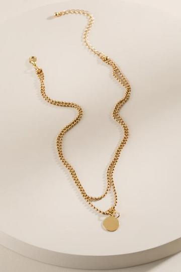 Francesca's Kiara Cubic Zirconia Coin Necklace - Gold