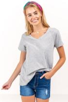 Francesca's Erica Vneck Tee - Heather Gray