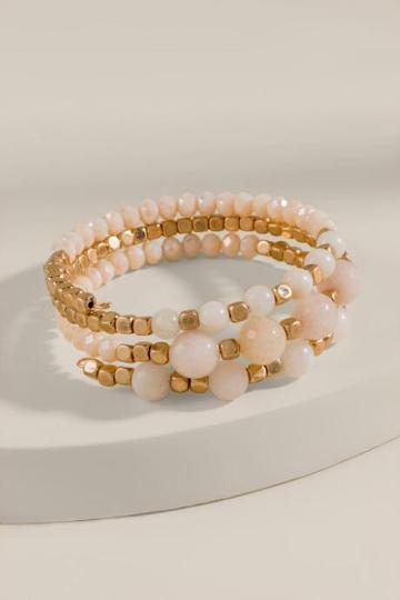 Francesca's Mia Beaded Coil Bracelet - Beige