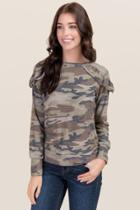 Jolie Kassandra Camo Ruffle Shoulder Knit Top - Dark Olive