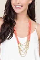 Francesca's Lolita Coral Seed Bead Necklace - Neon Coral