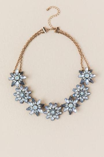 Francesca's Iris Floral Statement Necklace - Periwinkle