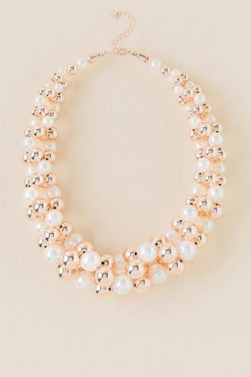 Francesca Inchess Kyra Rose Gold Pearl Statement Necklace - Pearl