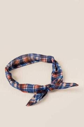 Francesca's Cher Plaid Headwrap - Blue