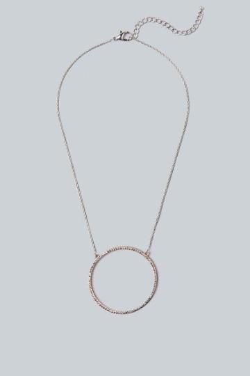 Francesca's Mona Open Pave Circle Pendant Necklace - Rose/gold