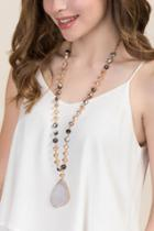 Francesca's Amelia Rosary Stone Pendant Necklace - Beige