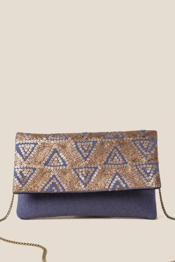 Francesca's Finely Triangle Sequins Clutch - Navy