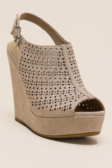 Chinese Laundry Laser Cut Wedge - Beige