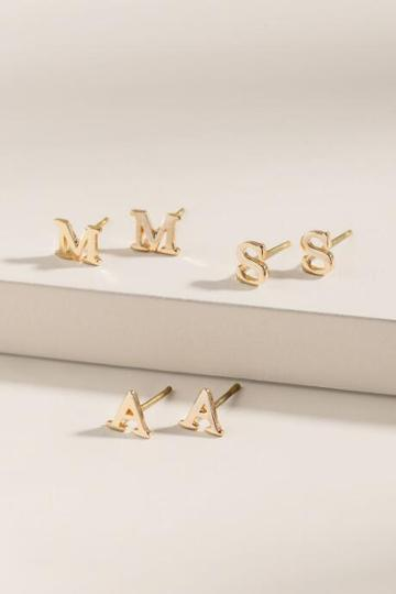 Francesca's Initial Stud Earrings - L