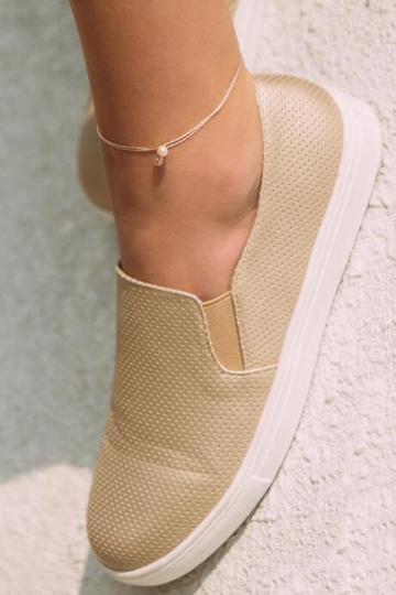Francesca's Adeline Pearl And Crystal Anklet In Rose Gold - Rose/gold