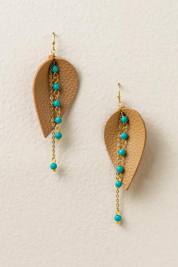 Francesca's Spencer Leather Earrings - Turquoise