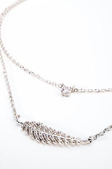 Francesca's Kiley Leaf Pendant Layered Necklace - Silver