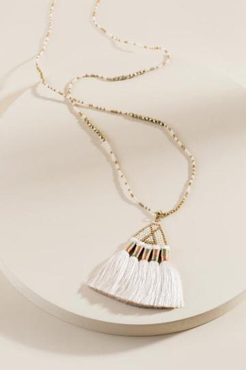 Francesca's Kendra Beads And Tassel Necklace - Ivory