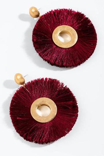 Francesca's Lindsey Round Tassel Earrings - Burgundy