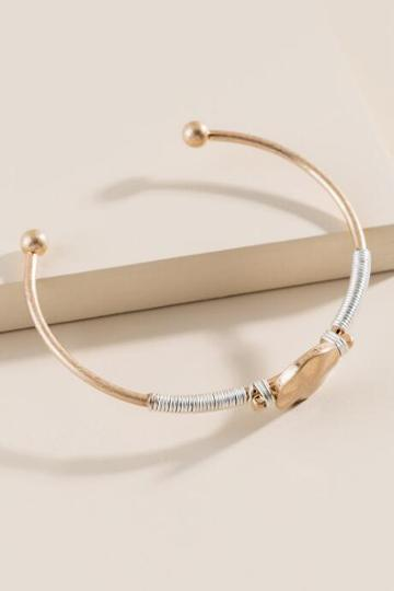 Francesca's Shellie Hammered Circled Cuff Bracelet - Mixed Plating