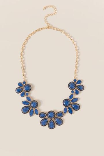 Francesca's Raina Floral Statement Necklace - Navy