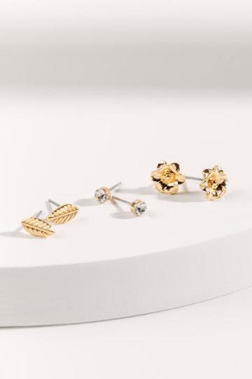 Francesca's Flower Themed Stud Earrings - Gold