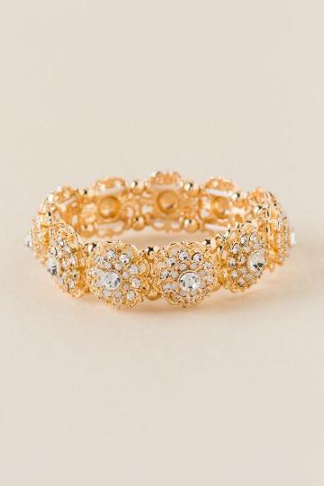 Francesca's Catarina Crystal Stretch Bracelet - White