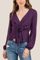 Francesca Inchess Belle Bow Front Vneck Blouse - Purple
