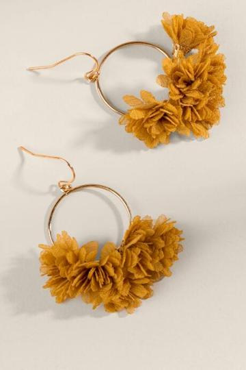 Francesca's Britney Chiffon Flowers Drop Earrings - Mustard