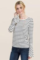 Jolie Addi Striped Bell Sleeve Top - White