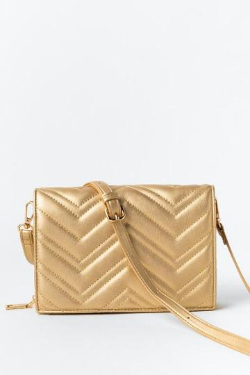 Francesca's Veronica Quilted Wallet - Gold