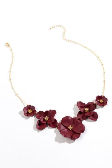 Francesca's Kimberly Floral Statement Necklace - Wine