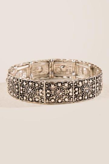Francesca's Cia Metal Silver Stretch Bracelet - Silver