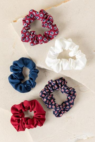 Francesca's Amber Floral Scrunchie Set - Navy