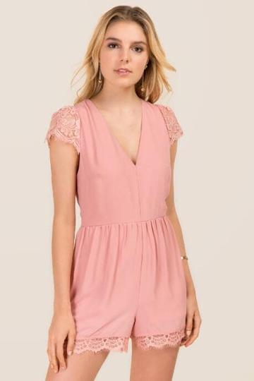 Mi Ami Gracen Lace Sleeve Romper - Rose
