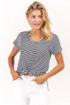 Francesca's Rachel Striped Vneck Tee - Black