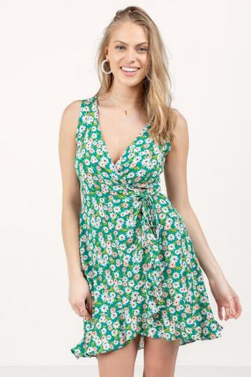 Francesca's Addilyn Floral Wrap Dress - Kelly Green