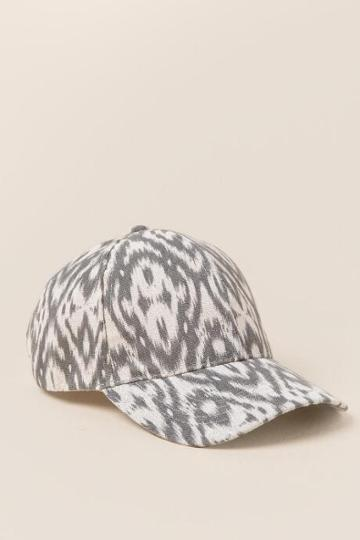 Francesca's Holly Gray Ikat Baseball Cap - Gray