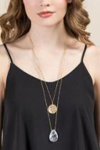 Francesca's Tami Double Layer Necklace - Clear