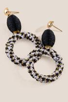 Francesca's Margaret Woven Circle Drop Earrings - Black